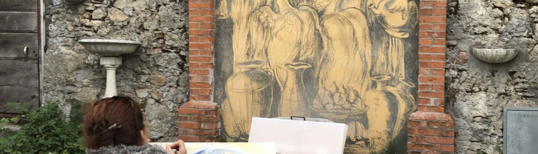 Artista durante gli Sgraffiti di Casoli