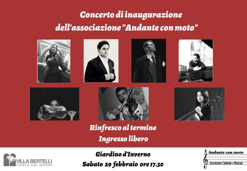 Nell'ambito della rassegna Inverno in Villa, nel Giardino d'Inverno di Villa Bertelli a Forte dei Marmi sabato 29 febbraio 2020 alle ore 17.30 si terrà il concerto di inaugurazione dell'Associazione